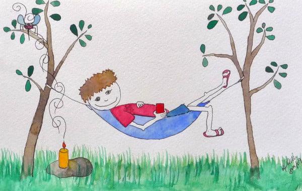 Desenho de menino na rede Kampa
