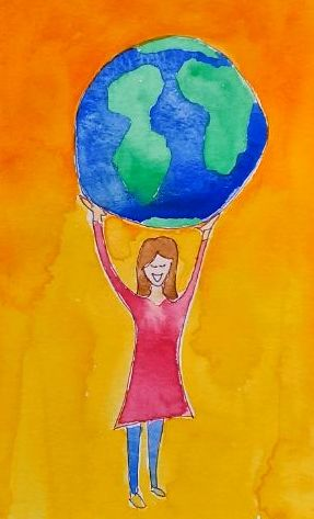 menina segurando o mundo reutiliza