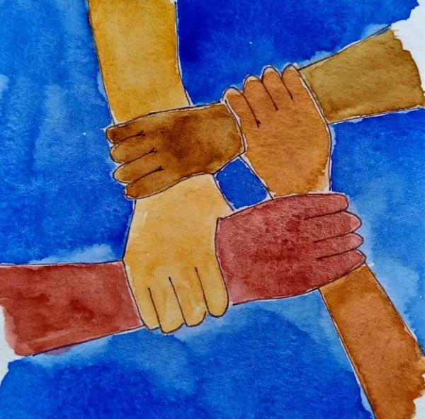 desenho de mãos unidas